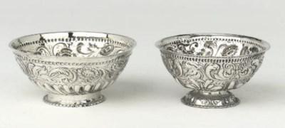 Two Dutch silver cream bowls