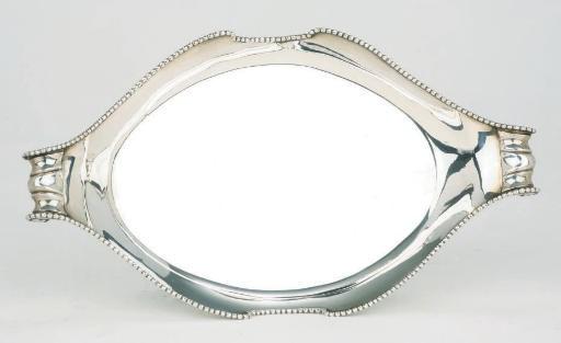 A Dutch silver two-handled tra