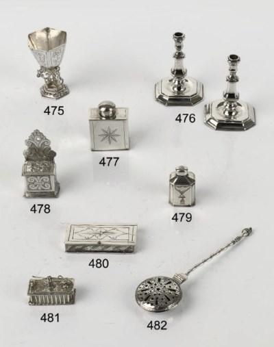A pair of Dutch silver miniatu