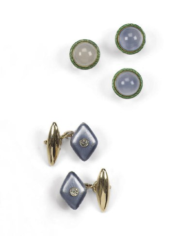 A PAIR OF RUSSIAN CUFF-LINKS A