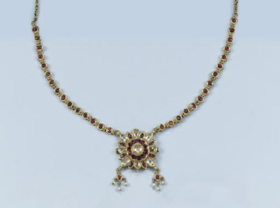 AN INDIAN RUBY AND DIAMOND NEC