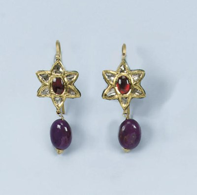 A PAIR OF INDIAN ENAMEL, RUBY