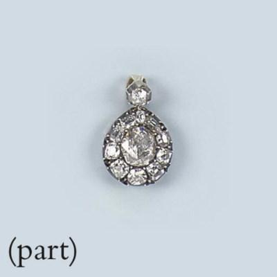 AN ANTIQUE ROSE-CUT DIAMOND PE