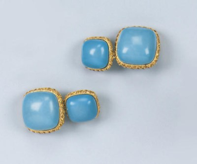 A PAIR OF TURQUOISE AND YELLOW