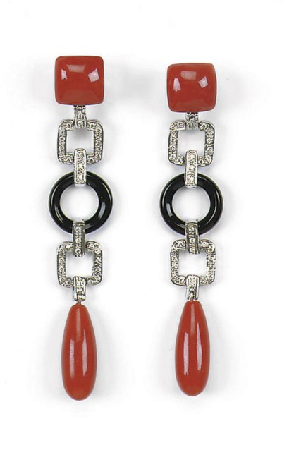 A PAIR OF CORAL, ONYX AND DIAM