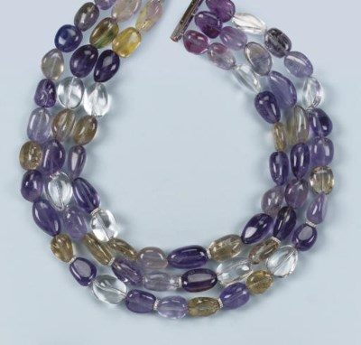 AN AMETHYST, ROCK CRYSTAL AND