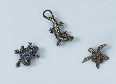 TWO DIAMOND ANIMAL BROOCHES AN