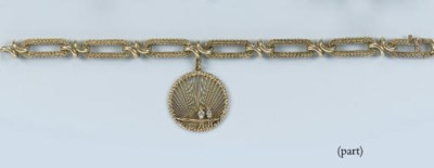 A GOLD BRACELET AND TWO PENDAN