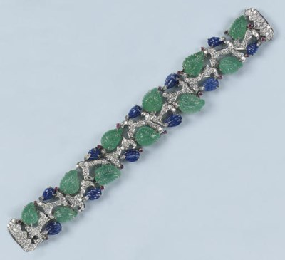 A GEM-SET AND DIAMOND BRACELET