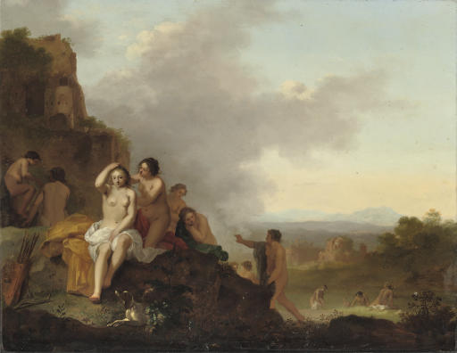 Nymphs resting and bathing in an Italianate landscape