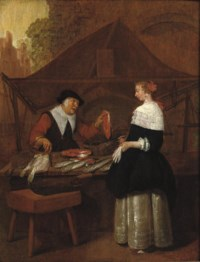 A fishmonger selling her wares to an elegant lady at a stall