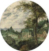 A river landscape with a town, a palace and a church