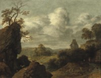 A rocky landscape with figures on a track, a castle beyond