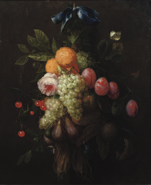 Oranges, prunes, cherries, figs, grapes, and a rose hanging from a blue ribbon tied to a nail, with a butterfly and other insects nearby