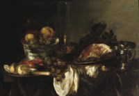 A blue and white porcelain bowl with fruit, a 'façon de Venise' of white wine, a leg of ham on a silver platter, a silver jug, a pocket watch, a silver plate with a peeled lemon and a crab all on a partially draped table