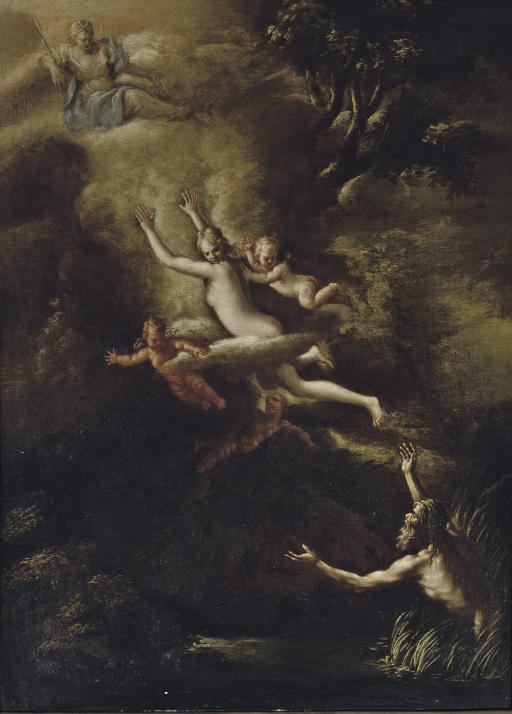 Glaucus fleeing from Skylla, the Goddess Diana looking down from above