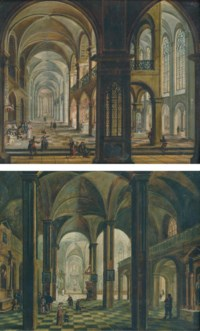 A church interior with figures praying and conversing; and A church interior with figures praying at the altar of Saint Anthony