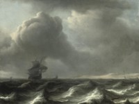 A 'wijdschip' in choppy waters, other vessels beyond