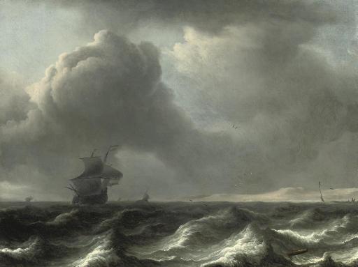 A 'wijdschip' in choppy waters, other vessels beyond