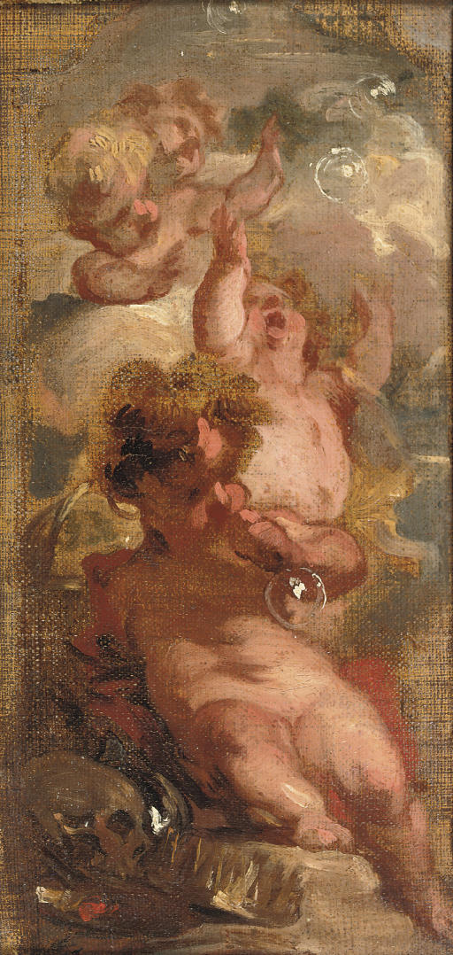 An Allegory of Vanitas: Four putti blowing bubbles, a skull, an artist's palette and a crown nearby