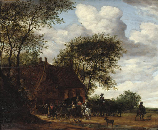 A wooded landscape with travellers by an inn