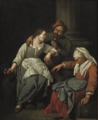 A couple embracing, a procuress asleep nearby