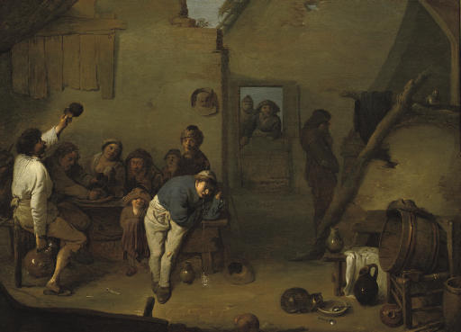 Boors eating and drinking in an interior