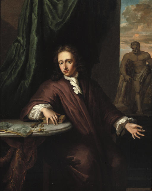 Portrait of a goldsmith, three-quarter-length, seated by a table on a draped terrace, in a brown Japansche rok and white chemise, the 'Hercules Farnese' beyond
