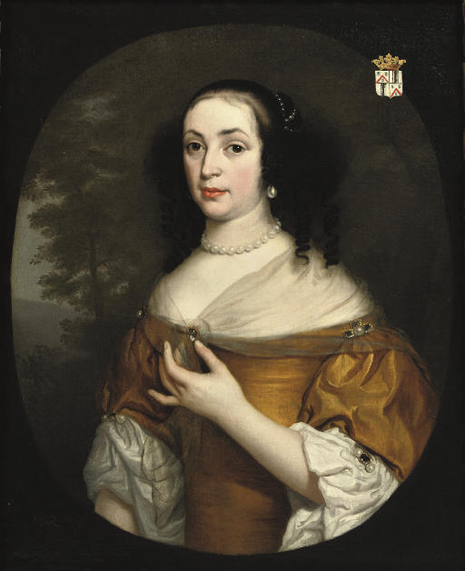 Portrait of Isabella Bellasis (died 1676), half-length, in a yellow dress and lace chemise, a landscape beyond, in a painted oval