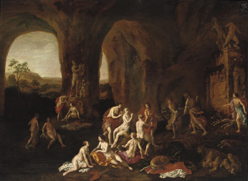 Diana and her nymphs in a cave