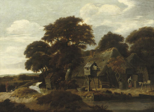 A wooded river landscape with a farmyard and a dovecote