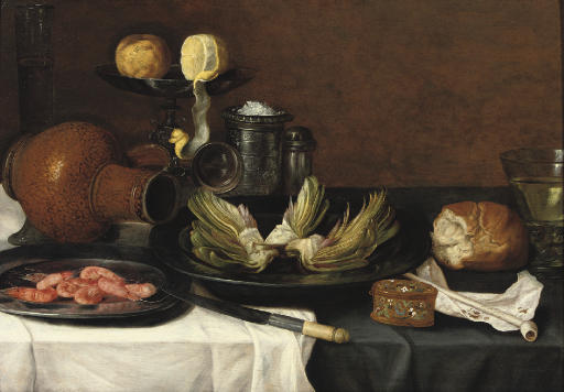 Artichokes and shrimps on pewter plates, an earthenware jug, a knife, a peeled lemon and an orange on a tazza, a salt-cellar and other objects on a draped table