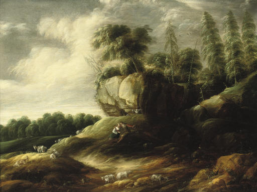 A wooded rocky landscape with a couple tending sheep