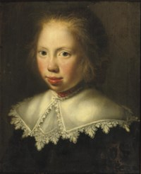 Portrait of a girl, bust-length, in a dark costume and a white collar with a coral necklace