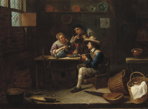 Peasants eating, drinking and smoking in an interior