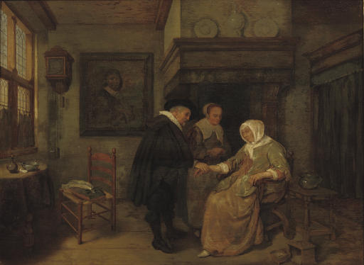 A doctor visiting a sick woman