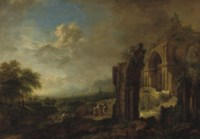 A wooded river landscape with travellers by a ruined gothic church