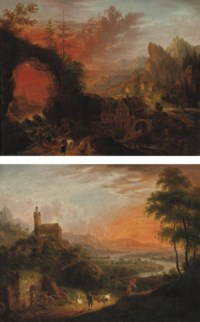A mountainous river landscape with travellers near a waterfall, a watermill nearby; and A mountainous river landscape with peasants near a well, a castle on a hill nearby