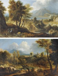 A mountainous river landscape with travellers on a track, a fortified town beyond; and A mountainous wooded landscape with travellers near a lake, a town beyond