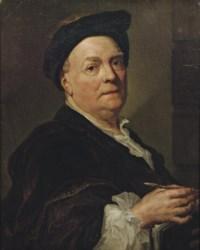 Portrait of Louis de Silvestre (1675-1760), half-length, holding a pen and leaning on a portfolio