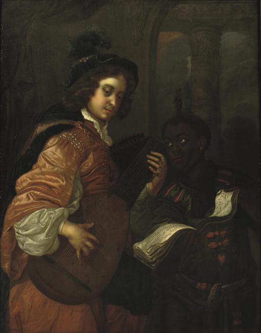 A man playing the lute with a servant holding a music sheet