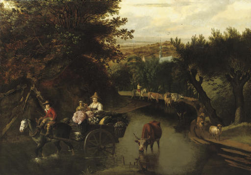 A wooded landscape with peasants in a horse-drawn cart travelling down a flooded road