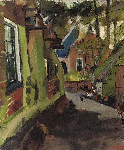 A village street (recto); Cornfields with the churches of Zuidwolde in the distance (verso)