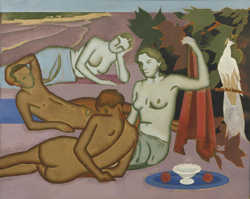Four nudes with a bird
