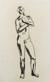 A study of a standing male nude
