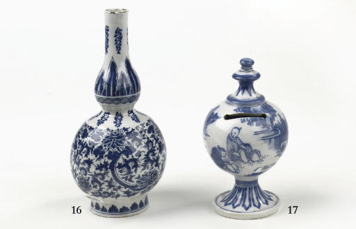 A Dutch Delft blue and white chinoiserie money bank