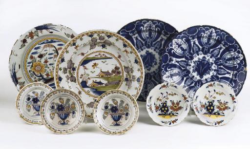 Eleven various Dutch Delft dishes
