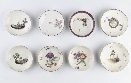 Eight various Höchst saucers