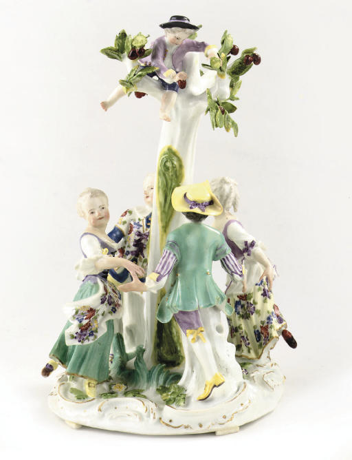 A Meissen group of four childr