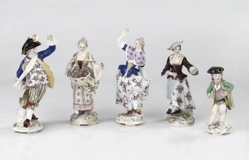 Five various Meissen figures